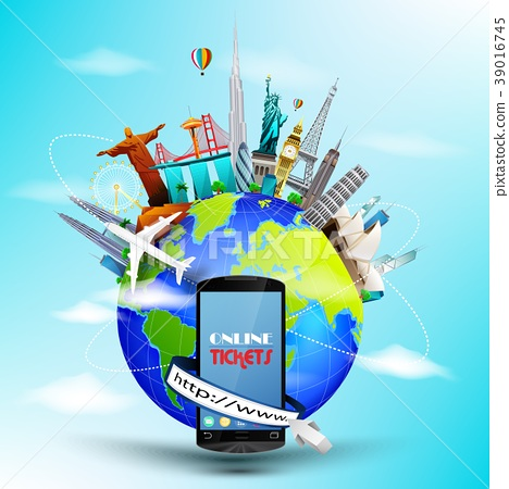 Travel ticket online the world concept with addres 39016745