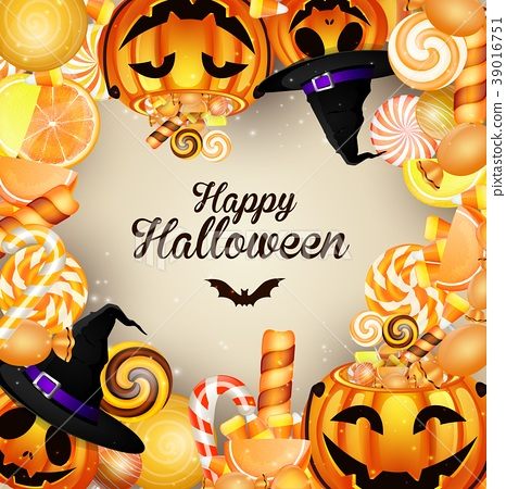 Halloween background with pumpkins and candies 39016751