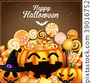Halloween background with pumpkins and candies 39016752