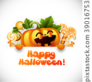 Halloween pumpkin smiling and candy 39016753