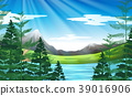 Background scene of lake and pine forest 39016906