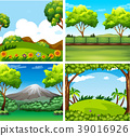 Four background scenes with trees and field 39016926
