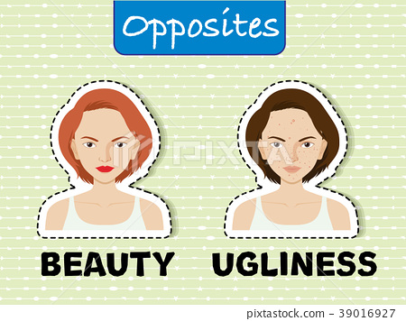 Opposite words for beauty and ugliness 39016927