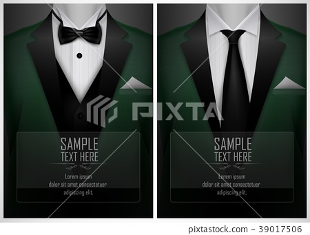 Set of business card templates with suit and tuxed 39017506