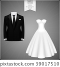 Black groom suits and white bridal gown 39017510