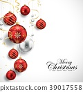Merry Christmas and Happy New Year card with red b 39017558