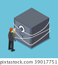 Isometric thief standing with security safe box. 39017751