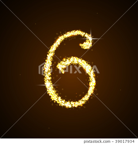 Number six of gold glittering star 39017934