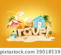 The word Travel made of sand  39018539