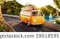Cute little retro car with suitcases 39018595