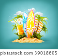 Surf boards on paradise island 39018605