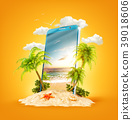 Tropical landscape on the screen of smartphone 39018606