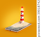Unusual 3d illustration of a Lighthouse 39018742