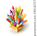 bright colorful fireworks rockets in a box. 39018757