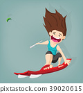 Sport woman drive kite surfing with air kite 39020615