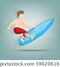 Surfer in tropical sea summer 39020616