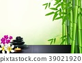 Bamboo, stone, flowers and wax background on the t 39021920