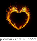 Symbol of love ring of Fire with black background. 39022271