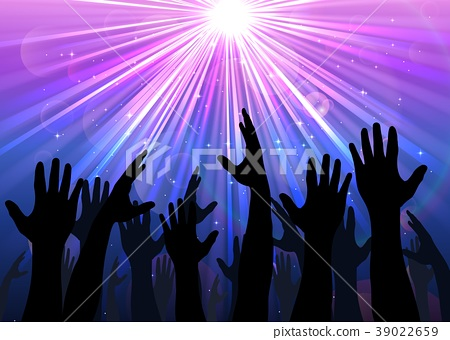 Illustration of hands raised from the people with  39022659