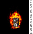 Fire burning speaker on black background 39022664