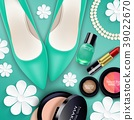 Sets of cosmetics on green background 39022670