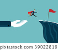 big hand help businessman jump to red flag 39022819