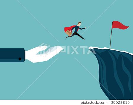 big hand help businessman jump to red flag 39022819