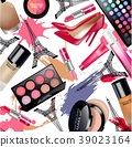 Sets of cosmetics with Eiffel Tower on white backg 39023164