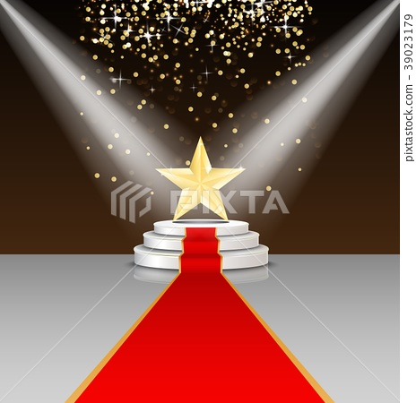 Stage podium with red carpet and star on brown bac 39023179