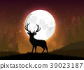 Silhouette of a deer standing on a hill at night 39023187
