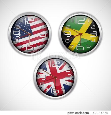 Nations wall clocks of flag 39023270