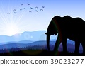 Elephant in the field at dawn. Vector 39023277