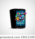 Black touch screen smartphone and application icon 39023289