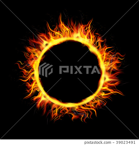 Fire Circle on Black Background 39023491