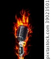 Fire burning microphone on black background 39023501