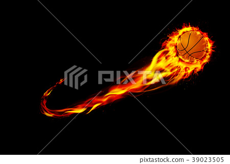 Fire burning basketball with background black 39023505