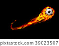 Fire burning Soccer ball with background black 39023507
