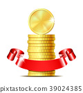 Stack of coins with red ribbon. 39024385