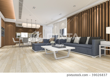 luxury and modern living room near kitchen 39026837