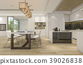beautiful modern white kitchen and dining room 39026838