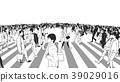 Illustration of Shibuya Crossing in black white 39029016