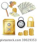 Money Secure Concept Vector. Gold Metal Coins 39029353