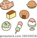 逗人喜爱的日本甜点例证材料 39030038