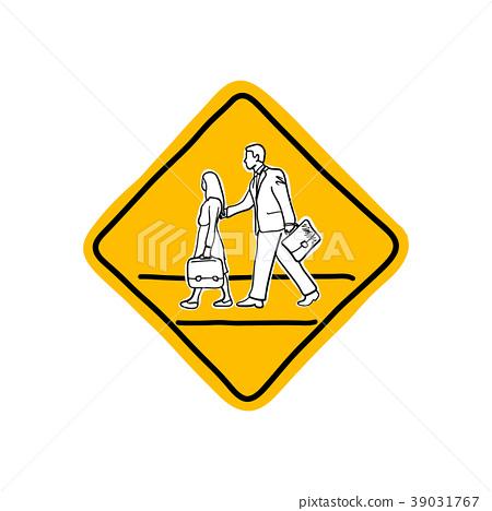 drawing yellow school road warning sign  39031767