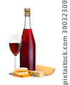 Bottle of homemade red wine with cheese selection 39032309