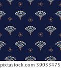 Peacock fan seamless blue vector pattern. 39033475