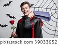 Vampire Halloween Concept - Happy handsome 39033952
