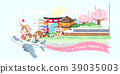 cartoon family travel in japan 39035003