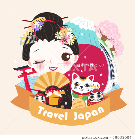 cute cartoon geisha 39035004