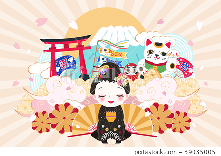 cute cartoon geisha 39035005